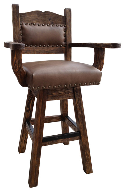 Colonial Western Rustic Swivel Stool Studded Leather Southwestern