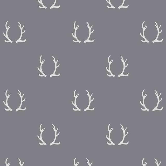 Antler Wallpaper Panel, Dark Light Gray