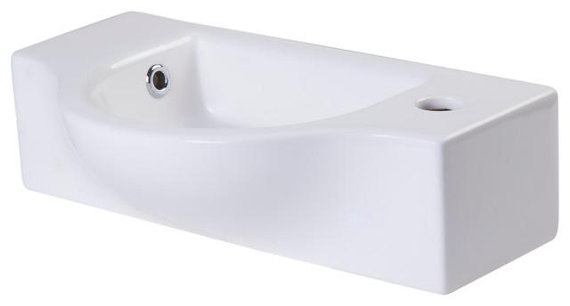 Alfi Brand White Wall Mounted Ceramic Bathroom Sink Basin.