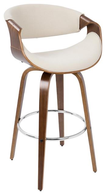 d82041678479 Curvini Barstool, Walnut, Cream - Midcentury - Bar Stools And Counter Stools  - by u Buy Furniture, Inc