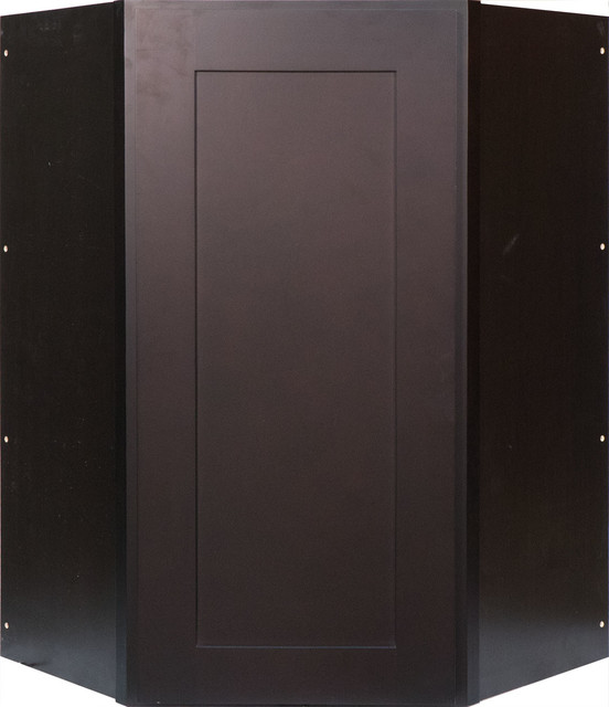 Dark Espresso Shaker Diagonal Corner Wall Cabinet   Contemporary   Kitchen  Cabinetry   By Everyday Cabinets