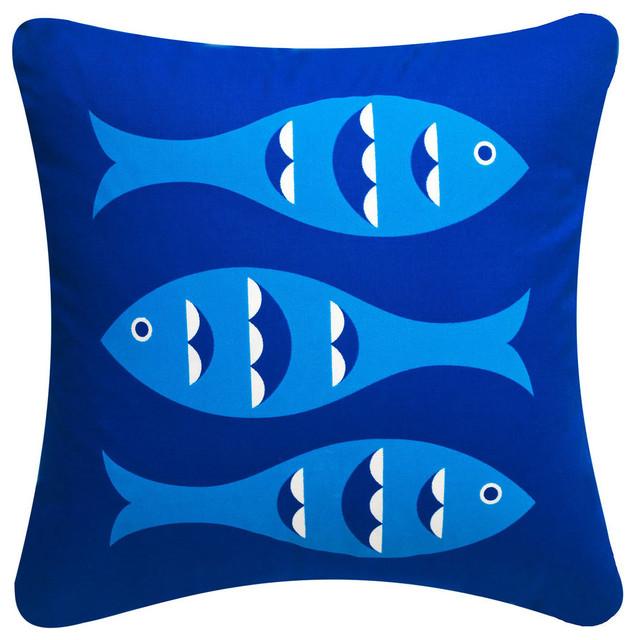 Blue Fish Organic Cotton Coastal Throw Pillow Cover Sapphire Blue Unique Nautical Decorative Pillow Covers
