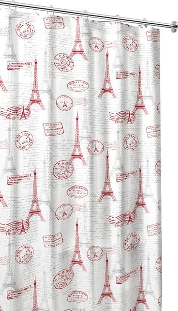Paris Postal Fabric Shower Curtain Red Grey White Eiffel Tower Stamp Design