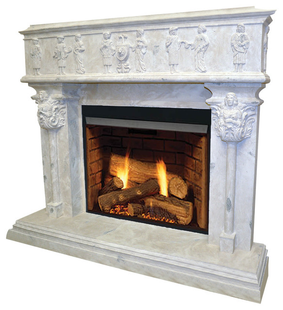 The Palermo Classic Stone Fireplace Mantel - Traditional ...