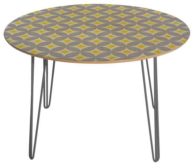 Deny Designs Holli Zollinger Diamond Circles Yellow Round Table Steel Legs