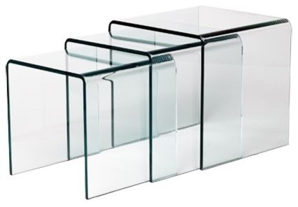 Table gigogne verre design contemporain table d for Table bout de canape en verre