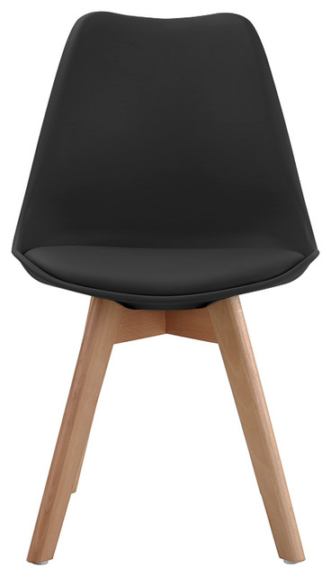 Modern Home Wooden Dining Chairs, Set Of 2 , Black.
