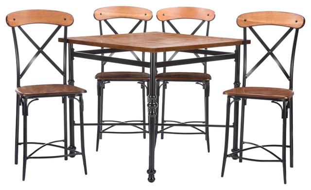 Broxburn Light Brown Wood And Metal 5-Piece Pub Set.