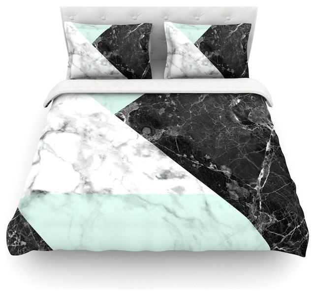 KESS Original Geo Marble And Mint Duvet Cover