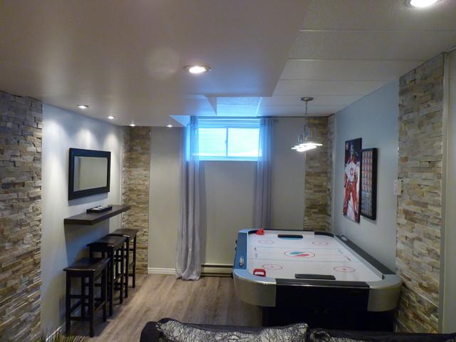 Sous sol salle de jeu ado et adulte contemporain montr al par charma design - Jeux de chambre een decorer ...