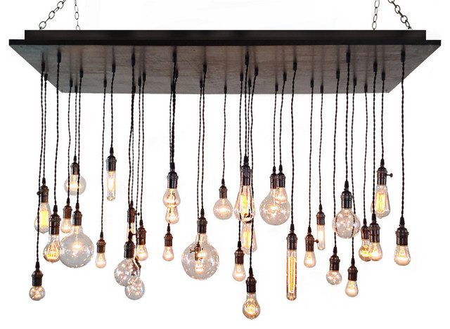 Edison Bulb Chandelier, Antique Brass Socket, Kona, Suspended