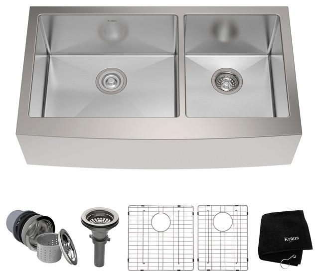 "KRAUS 36"" Farmhouse 60/40 Kitchen Sink 16G Stainless Steel with Accessories"