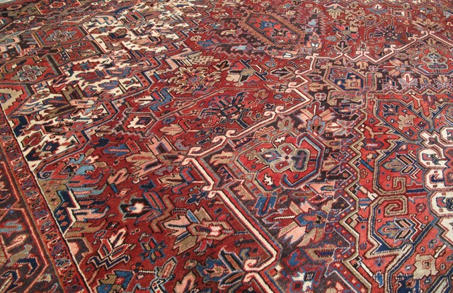 Consigned Persian 11 X 13 Area Rug Heriz Hand Knotted Wool Rug