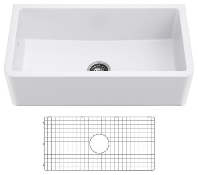 "Turino 33"" Farmhouse Reversible Apron Front Fireclay 1-Bowl Kitchen Sink MWH"