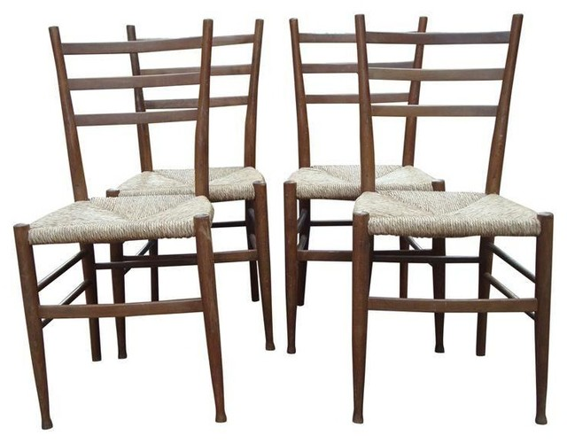 Charming 4 MCM Italian Gio Ponti Style Superleggera Chairs
