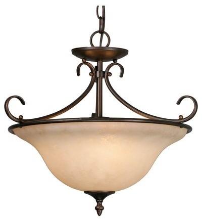 Golden Lighting 8606-Sf Homestead 3 Light Pendant Or Semi Flush Ceiling Fixture.