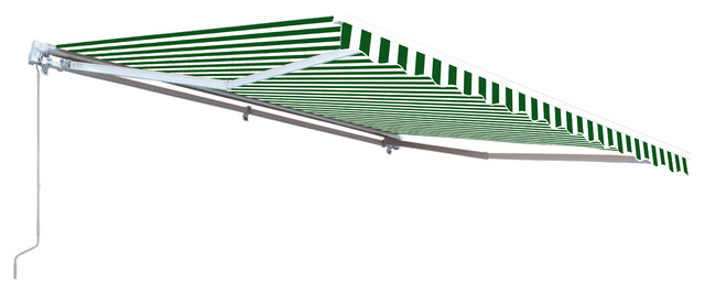 Aleko Retractable Motorized Awning, 12&x27;x10&x27;, Green/white.