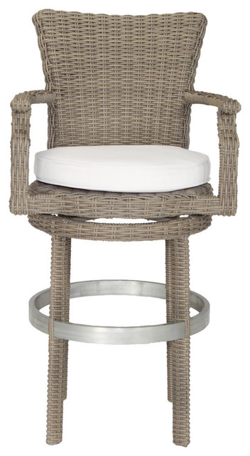 Palisades Outdoor Swivel Bar Stool With Sunbrella Cushion Tropical