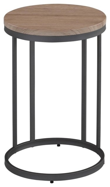 Washed Oak And Gray Metal Accent Table Contemporary