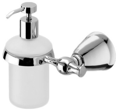 nameeks frosted glass soap dispenser with polished chrome wall mount and hand pump soap