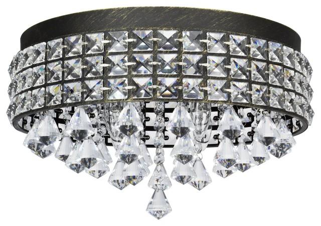 Kira Home Gemma 15 Contemporary 4 Light Round Flush Mount Crystal Chandelier B