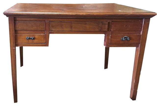 Consigned Study Table Desk Solid Wood Console Storage Drawer