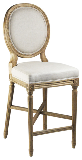 Pleasant French Country Medallion Back Light Linen Bar Stool Home Interior And Landscaping Transignezvosmurscom