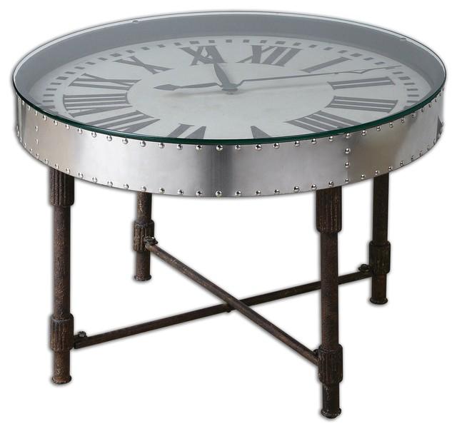 Silver Vintage Aluminum Clock Table Frame Upturned Onto Metal Base Home  Decor