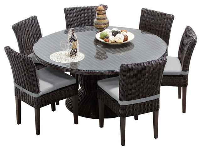 Venice 7 Piece 60 Round Glass Top Patio Dining Set Tropical