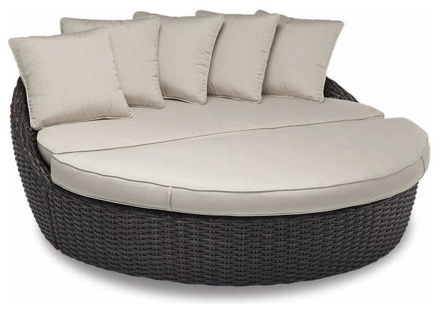 Cardiff Round 2 Piece Daybed With Cushions, Canvas Flax With Self Welt  Tropical Outdoor