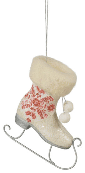 patterned ice skate christmas tree ornament