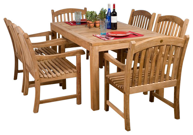 Norway 7-Piece Teak Rectangular Patio Dining Set.