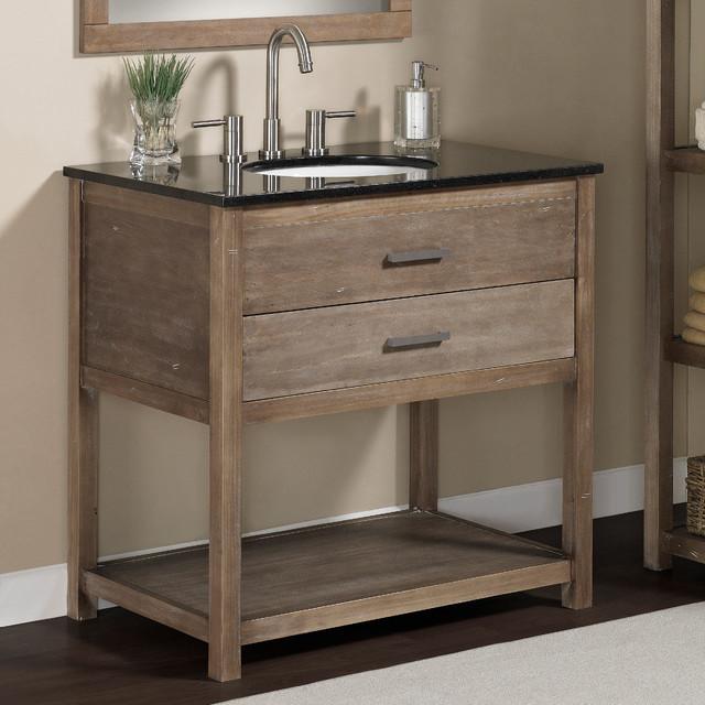 Elements 36 Inch Granite Top Single Sink Bathroom Vanity