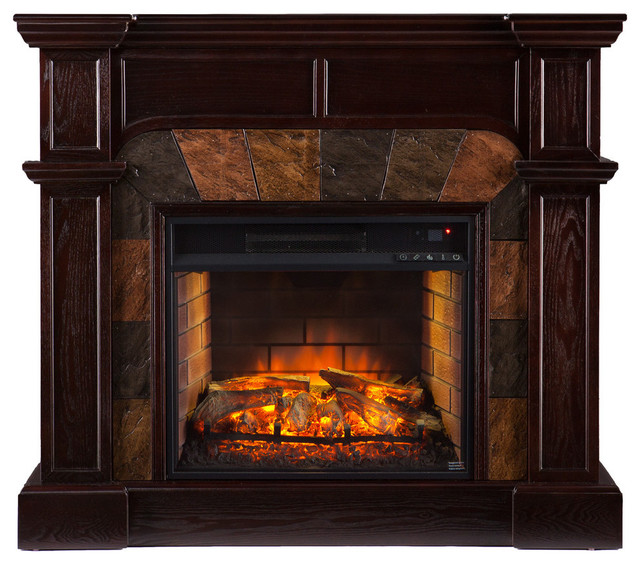 Joliet Corner Faux Stone Infrared Fireplace Traditional