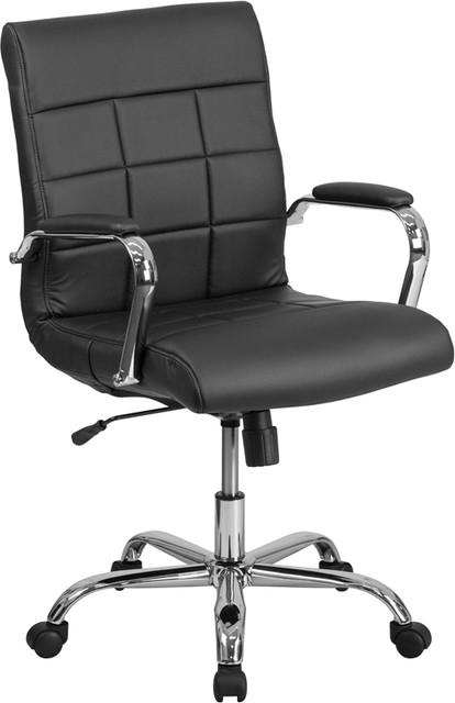 Mid-Back Executive Vinyl Swivel Chair, Black.