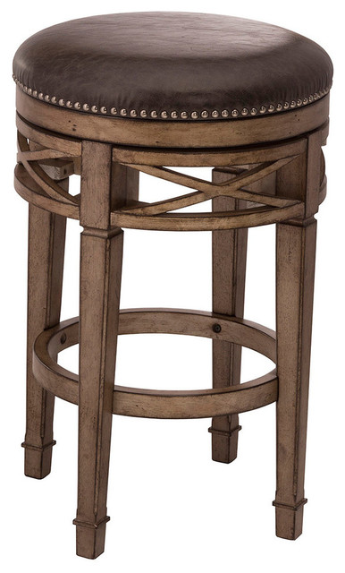 Chesterfield Backless Swivel Counter Stool Transitional
