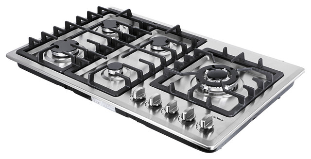 34 Stainless Steel 5 Burner Stove Ng Lpg Gas Cooktops Heavy Frame