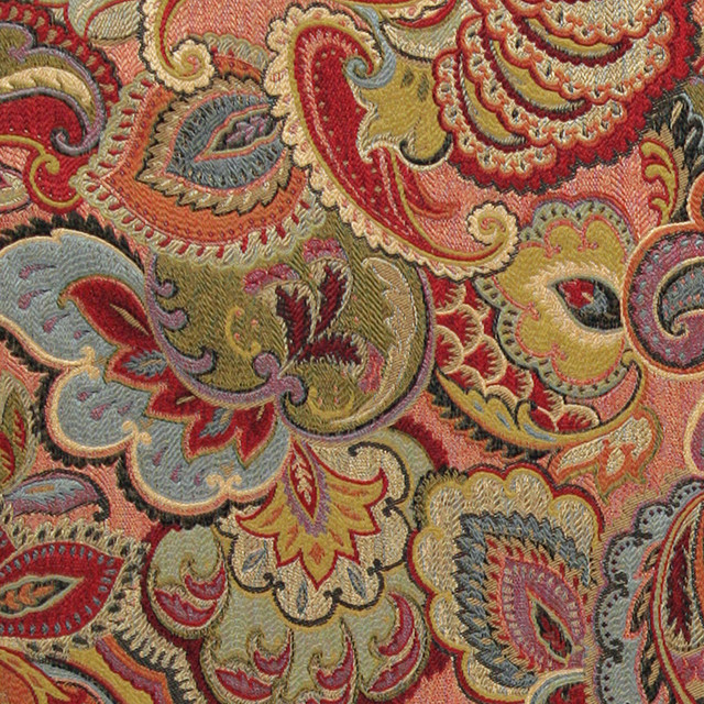 Green Blue Red And Gold Abstract Floral Upholstery