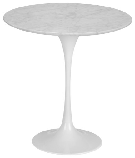 "Poly and Bark Daisy 20"" Marble Side Table, White"