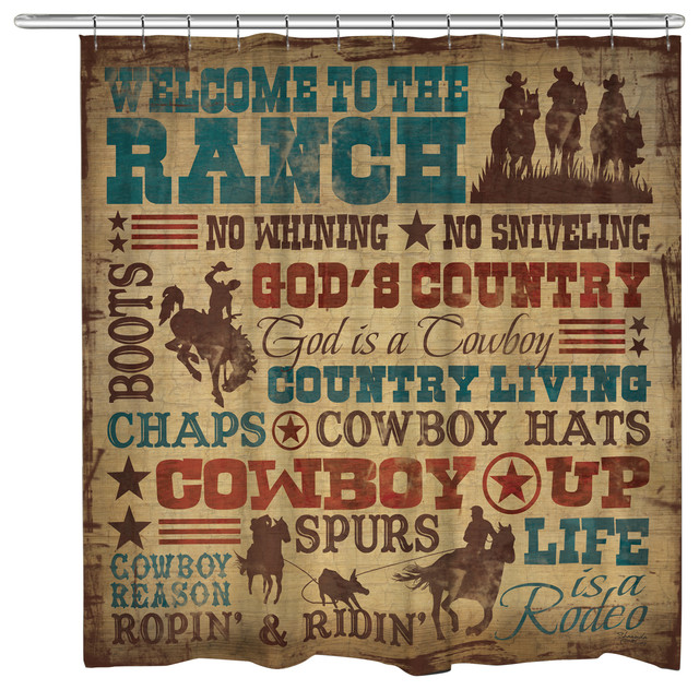 Welcome to the Ranch Shower Curtain - Southwestern - Shower Curtains ...