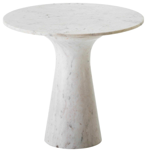 Smooth Round White Marble Coffee Table Contemporary Coffee