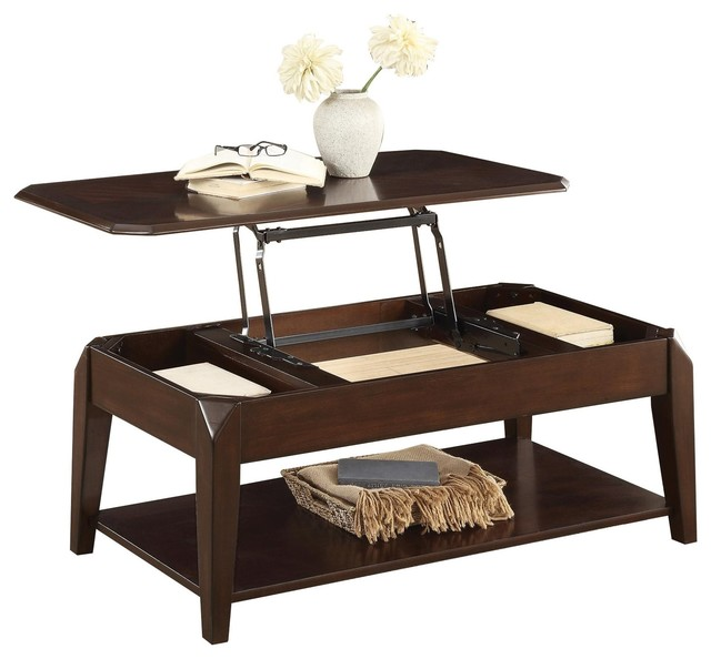 Schmier Modern Cocktail Table With Lift Top On Casters, Warm Cherry