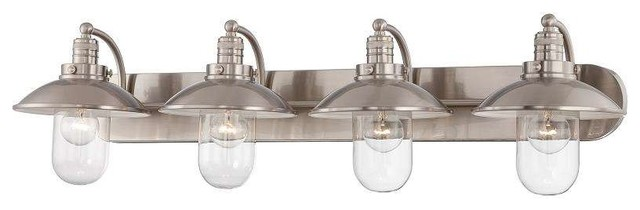 Bathroom Light Fixtures In Brushed Nickel minka lavery 5132-84 downtown edison bathroom light in brushed