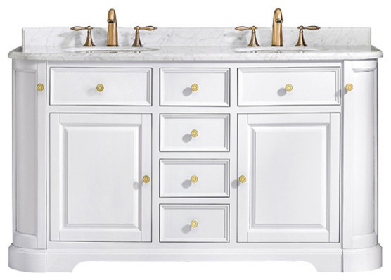 "Diana Vanity With Carrara Marble Top, White, 60""."