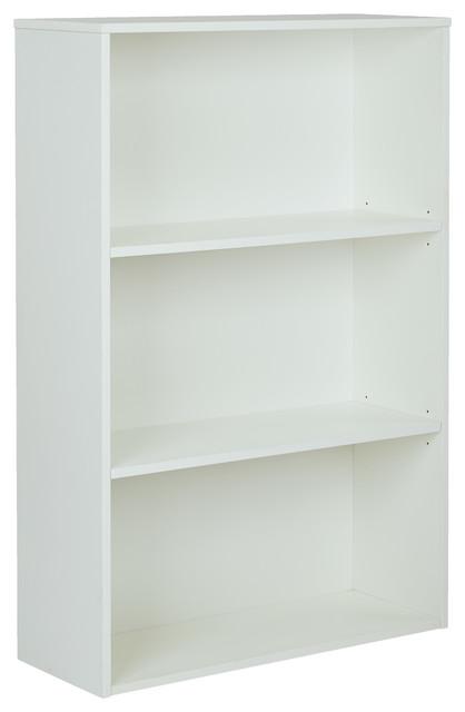 """Osp Prado 48"""" 3-Shelf Bookcase With 3/4"""" Shelves And 2 Adjustable Shelves, White."""