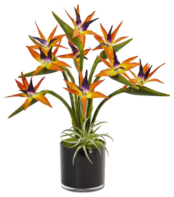 Artificial Flowers Bird Of Paradise In Black Glossy Cylinder Arrangement Tropical Artificial Flower Arrangements By Wrought Iron Haven
