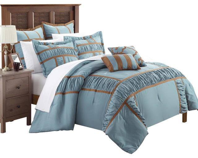 Tuscan Blue & Brown King 7 Piece Comforter Bed In A Bag
