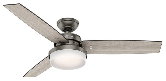 "Hunter 52"" Sentinel Brushed Slate Ceiling Fan With Light And Remote."