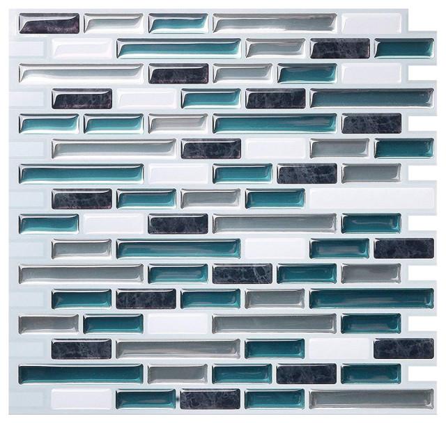 1 Tile Tic Tac Tiles Anti-Mold Peel and Stick Wall Tile in Vetro Aqua