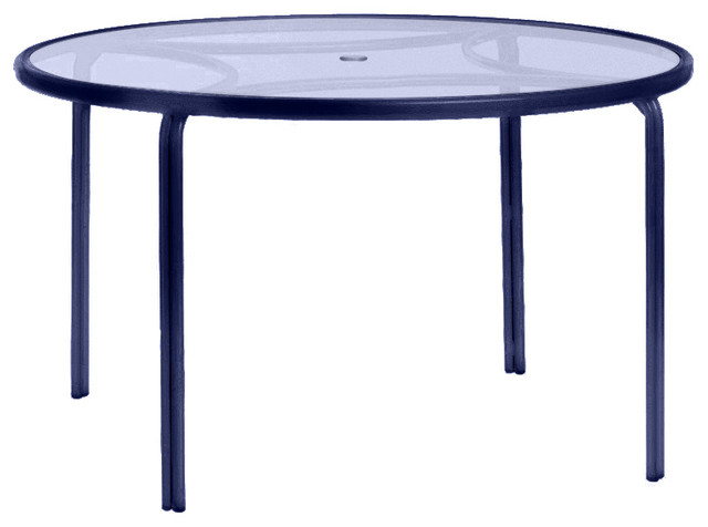 Belmont Outdoor Dining Table, Blue And Textured Glass.